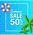 water waves and 50 off for summer sale discounts vector image vector image