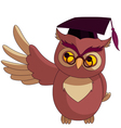 wise owl with graduation cap vector image vector image