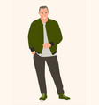 young man wearing bomber jacket vector image vector image
