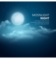 Night background Moon Clouds and shining vector image