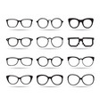 a set of glasses isolated icons vector image vector image