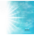 abstract of blue sky with sun burst in side vector image vector image