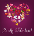 be my valentine love message quote in flower heart vector image vector image