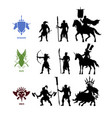 black silhouettes games characters vector image vector image