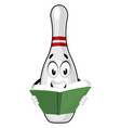 bowling pin reading book on white background vector image