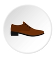 Brown man shoe icon flat style vector image vector image