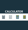 calculator icon set four elements in diferent vector image vector image