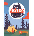 camping time poster night vector image