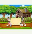 cartoon animals farm with a blank sign vector image