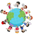 Children doing sports around the world vector image vector image