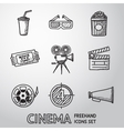 Cinema movie freehand icons set vector image