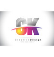 ck c k letter logo design with creative lines and vector image