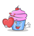 cupcake character cartoon style with heart vector image