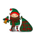 cute funny cartoon character christmas elf with vector image vector image