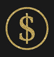 dollar icon with glitter effect isolated on black vector image vector image