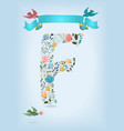 floral letter f with blue ribbon and three doves vector image vector image