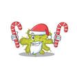 friendly bacterium in santa cartoon character vector image vector image