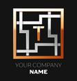 golden letter t logo symbol in the square maze vector image