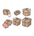 hand drawn gift boxes doodles set vector image