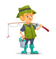 happy fisherman character hold bucket with fish vector image