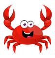 happy red crab on white background vector image vector image