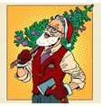 hipster santa claus with christmas tree vector image vector image