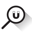 magnifying glass with magnet icon vector image