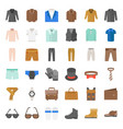 male clothes and accessories icon set 3 flat vector image vector image