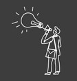 man in suit with loudspeaker and lightbulb icon vector image