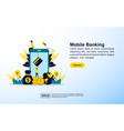 mobile banking concept with icon and character vector image vector image