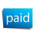 paid blue paper sign on white background vector image vector image