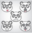 panda emoticons set 3 vector image