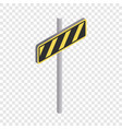 road sign yellow and black stripes icon vector image vector image