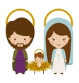 sacred family with baby jesus cartoon vector image vector image