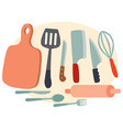 set kitchen utensils for cooking food cutting vector image vector image