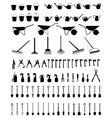 silhouettes garden tools vector image vector image