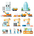 sky scraper construction flat set vector image