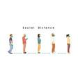 social distance full length cartoon sick vector image vector image
