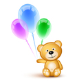 teddybear holding balloons vector image vector image