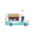 van shop with fast food drinks and seller street vector image vector image