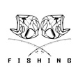 vintage fishing emblem with skull bass vector image vector image