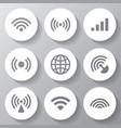 wireless white icons set vector image