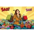 Woman with shopping in a sea of sales vector image vector image