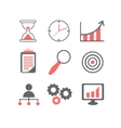 Flat line icons set of business planning process vector image