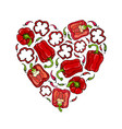 red bell peper heart shape wreath half of sweet vector image