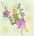 flower fairy girl on swing vector image