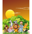 A group of animals at the forest vector image vector image