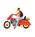 biker man sitting on red motorcycle side view vector image vector image