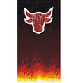 Bull silhouette with fire vector image