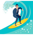 businessman a man catches a wave on a surf board vector image vector image